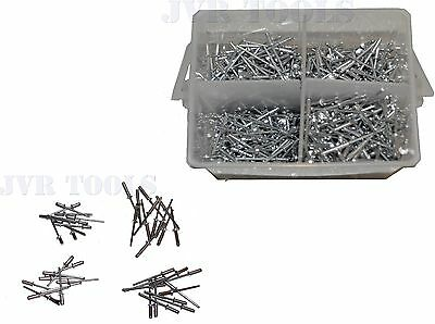 "1000pc 1/8"" Aluminum Blind Pop Rivet Assortment 4 Hand/Air Riveter Gun Rivet Set"