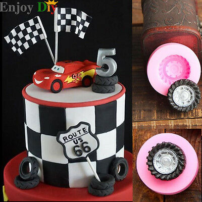 Silicone Cake Mold 3D Tires Wheel Fondant Mould DIY Cookie Cake Decorating Tool