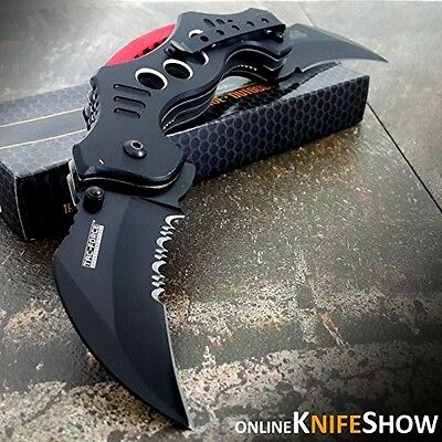 Karambit Spring Assisted Tactical Dual Blade Folding Knife 10.25Inch Open Pocket