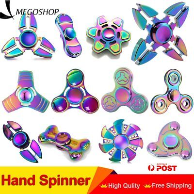 3D Rainbow Fidget Hand Spinner Finger EDC Focus Stress Reliever Toys Kids Adul T
