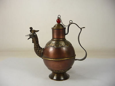 superb china old handwork collectible copper noble Phoenix shape teapot
