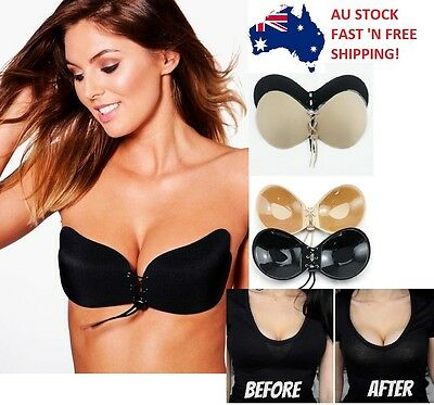 Self-adhesive Invisible Bras Stick On Push Up Lace Up Strapless Backless Bra