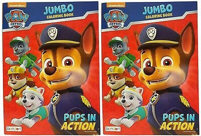 "Set of 2 Nickelodeon Paw Patrol ""Pups in Action"" Jumbo Colouring Book! Tear"