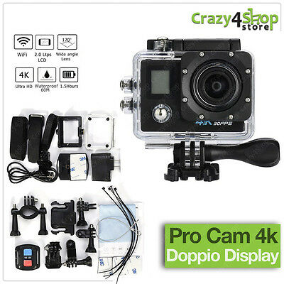 Pro Cam Action Camera 4K Wifi Ultra Hd Videocamera Con Telecomando Doppio Screen