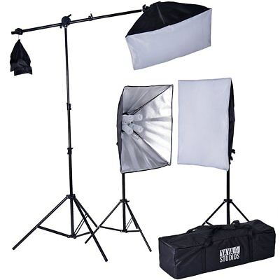 Black and Silver Daylight Umbrella Photo Video Studio Lighting Kit with Softbox