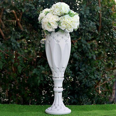 "4 pcs WHITE 30"" tall Decorative Wedding Columns Pedestals with Crystal Beads"