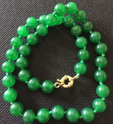 Jewellery Green Jade Beads 10Mm Beaded Necklace Oriental Chinese Prayer Agate