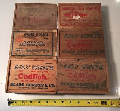 Qty 6 Vintage Gorton Lily White Newell Cod Wood Box Slide Top Advertising