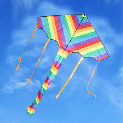 Kite Rainbow Color outdoor sport toy fun stunt gift Tail &100M line kid 95006001