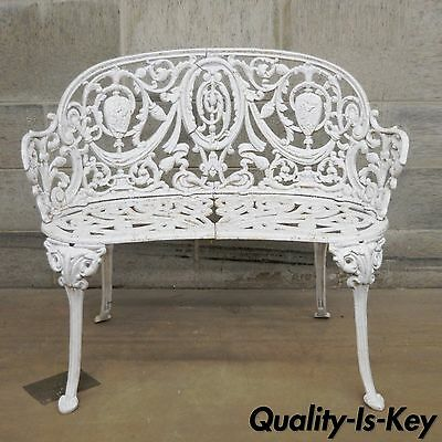 Antique Cast Iron Victorian Small Garden Bench French Regency Neoclassical Style