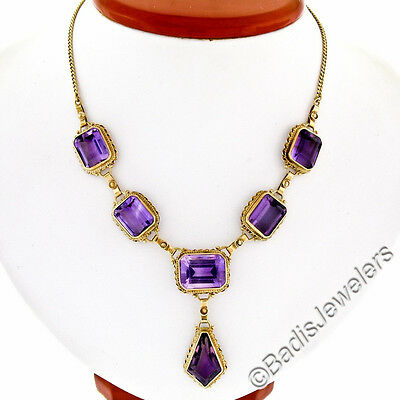 Vintage 14K Yellow Gold 45ctw Large Kite & Emerald Cut Amethyst Dangle Necklace
