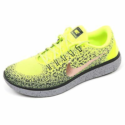 C5302 sneaker uomo NIKE FREE RN DISTANCE SHIELD giallo fluo/nero shoe man