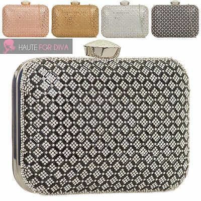 New Womens Hardcase Box Diamante Grid Jewel Clasp Bridal Party Clutch Bag Purse