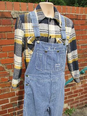 W32 Vintage 70s Mens Big Smith Stripe Bib Brace Overalls Dungarees Workwear L687