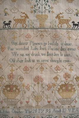 Antique Georgian 18th century sampler dated 1793, stags, dogs