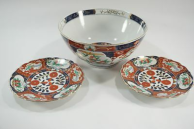 Vintage Asian Porcelain Bowl and 2 Matching Small Plates Birds Floral Gold Rims