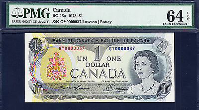 Canada $1 Lawson/Bouey 1973 BC-46a LOW Serial GY-0000037 Ch UNC PMG 64 EPQ