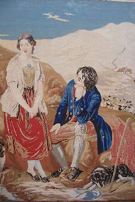 Antique Victorian needlepoint embroidery, people, dog, woolwork embroidered