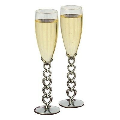 Jamie Lynn Stacked Heart Stemmed Toasting Glasses, Set of 2. Shipping Included