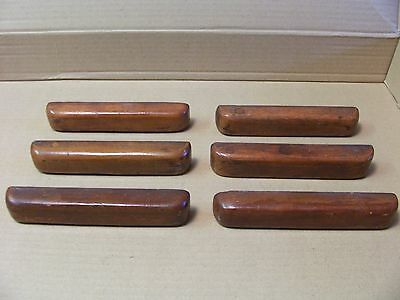 (6) Antique / Vintage Wooden Drawer Pulls / Handles -- Original Screws Included