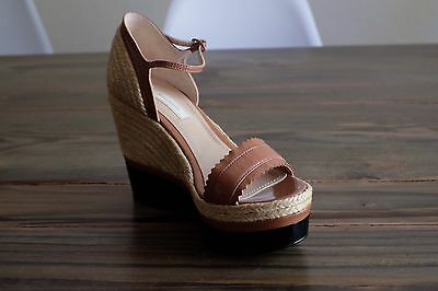 9407b9ae7c1 ... 8.5 M Tan Leather Clear High Heel Ankle Strap Natural.
