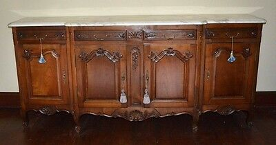 Antique French Louis XV Hand Carved Walnut Marble Top Step Front Buffet Server