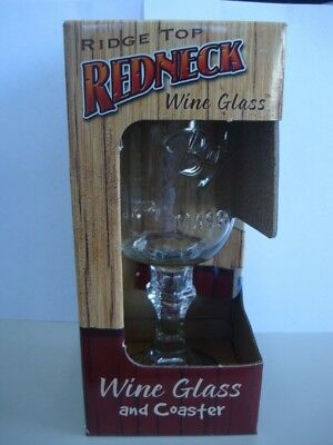 Redneck Wine Glass with 'Teamwork' Coaster. Red Neck Wine Glass