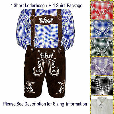 German Bavarian Oktoberfest Trachten authentic Short Lederhosen Package Set AZ04