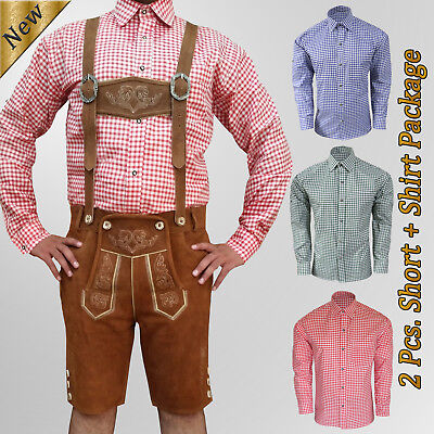 German Bavarian Oktoberfest Trachten authentic Short Lederhosen Package Set AZ03