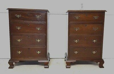 Pair Craftique Mahogany Nightstands Rare Four Drawer
