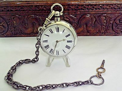 Antique Solid Silver Verge Pocket Watch London 1845 With Chain  Serviced 60 Mm