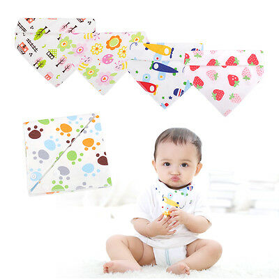 5x Infant Kid Baby Cotton Bandana Bib Feeding Burp Saliva Triangle Towel Dribble