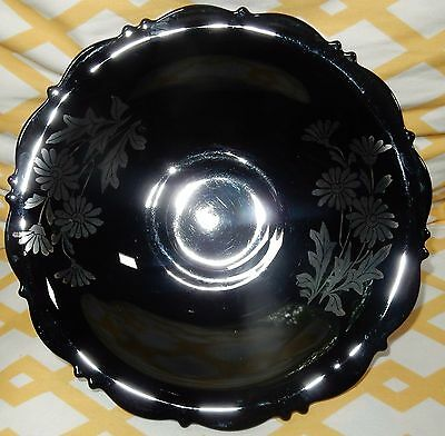 LE Smith Black Amethyst Footed Bowl w Sterling Silver Flowers Daisies Overlay  G
