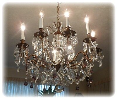 IMPRESSIVE  FRENCH BRONZE VINTAGE CHANDELIER w PRISMS
