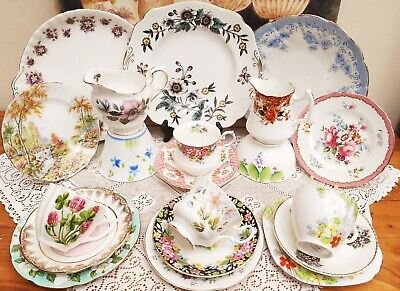 Mis-matched Mix China Vintage Wedding Tea Party 10 25 50 Trio Cake Cup Tea plate