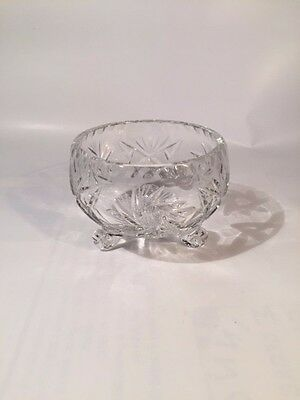 Three footed small Cut glass candy dish