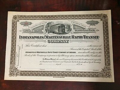 Vtg Indianapolis Martinsville Rapid Transit Stock Certificate Electric Railroad