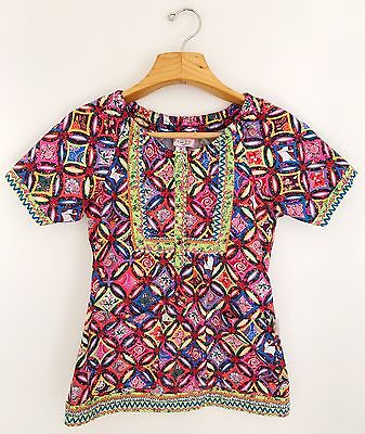 KOI Scrub By Kathy Peterson Women's Top Size S Bright Multicolor Short Sleeve