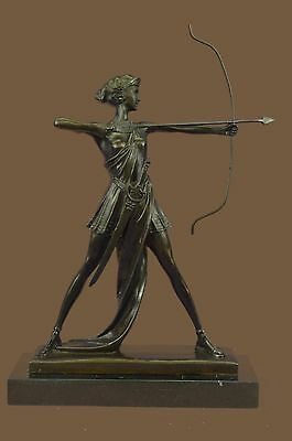 Artemis Diana Goddess Hunt Forests Hills Moon Archery Bronze Marble Statue DW