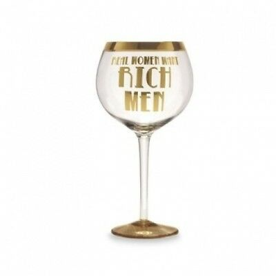 """""""Real Women Want Rich Men"""" 950ml Wine Glass. Slant. Shipping Included"""