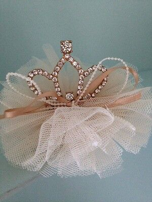 Mini Rhinestone Baby Tiara .Silver Baby Clip On Crown . Tulle Detail. Princess💞