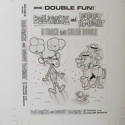 Very Rare Bullwinkle and Dudley Do-Right Original Art Mockup for Coloring Book