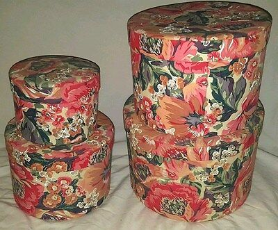 Vintage Set of 4 Floral Nesting Cloth Hat Boxes ~ Great Decorative Piece
