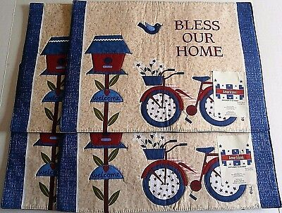"Americans Applique Placemat's  BLESS OUR HOME  13"" x 18"" Set of 4"