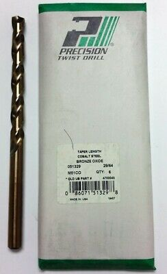 "29/64"" Cobalt Taper Length Drill, 4-3/4"" Lof, 7-1/2"" Oal, Ptd M51Co (Pack Of 6)"