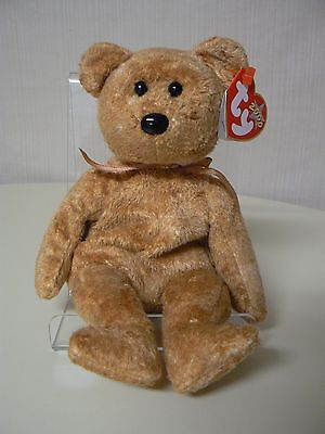 a075d2af609 Ty Beanie Baby CASHEW Plush Brown Bear with Golden Ribbon 2000 Star on  Swing Tag