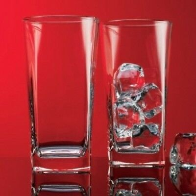 (Set of 4) - Red Series Square Highball Glass (Set of 4). Home Essentials