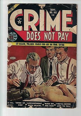 CRIME DOES NOT PAY COMIC #102 1951-CHARLES BIRO-HORROR COVER!   Lev Gleason