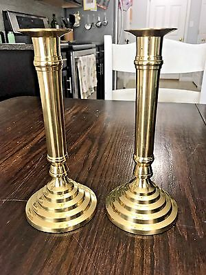 "Vintage Matching Set of 2 Hampton Brass 8 1/4"" Tall Candlestick Holders - India"