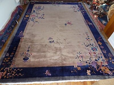 "Antique Chinese Art Deco Rug 9'7""x13'4"""